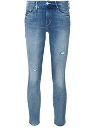 Mother 'Looker' Frayed Ankle Jeans Blue