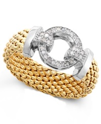 Macy's Diamond Mesh And Circle Accent Ring In Vermeil And Sterling Silver 1 5 Ct. T.W.