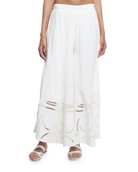 Vix Swimwear Peggy Wide Leg Embroidered Coverup Pants White