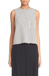 Alexander Wang Women's T By Stripe Frayed Crop Tank
