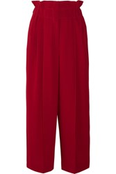 Sonia Rykiel Pleated Crepe Wide Leg Pants Red