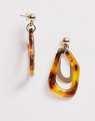 Pieces Abstract Tortoise Shell Drop Earrings Brown