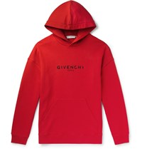 Givenchy Logo Print Loopback Cotton Jersey Hoodie Red
