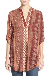 Junior Women's Lush 'Perfect' Roll Tab Sleeve Tunic Taupe Burgundy