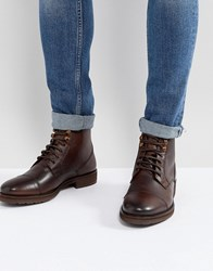 Burton Menswear Leather Lace Up Boot In Brown