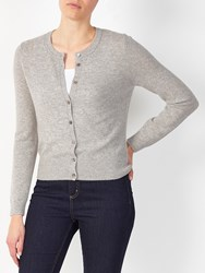 John Lewis Collection Weekend By Crew Neck Cashmere Cardigan Silver Grey