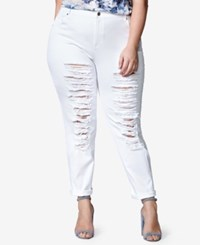 Mblm By Tess Holliday Trendy Plus Size White Wash Ripped Jeans
