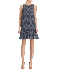 Lauren Ralph Lauren Geometric Easy Fit Crepe Dress Deep Sapphire