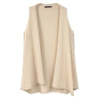 Mango Violeta By Cotton Fringed Gilet Light Beige