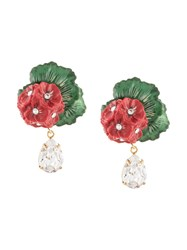 Dolce And Gabbana Drop Earrings With Decorative Details Red
