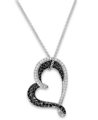Macy's Black And White Diamond Heart Pendant Necklace In Sterling Silver 1 2 Ct. T.W.
