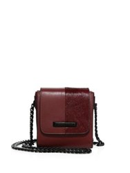 Kendall Kylie Violet Leather And Calf Hair Chain Crossbody Bag Black Red Plum