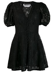 Rotate Lace Flared Dress Black