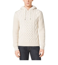 Michael Kors Cable Knit Cotton Blend Hoodie Muslin