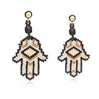 Azuni London Hamsa Beadwork Earrings In Lynx