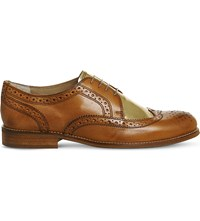 Poste Billie Leather Brogues Tan Gold Leather