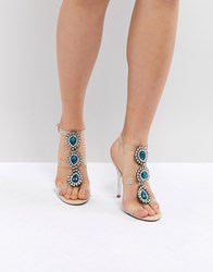 Blue By Betsey Johnson Betsy Sylvi Clear Embellished Heel Sandals Pink