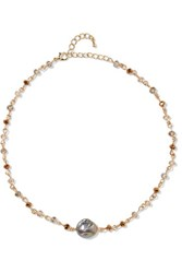 Kenneth Jay Lane Gold Tone Crystal Necklace