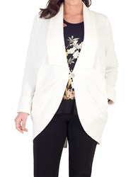 Chesca Shawl Collar Jacquard Coat White