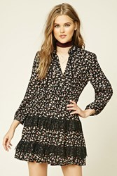 Forever 21 Tiered Floral Peasant Dress Black Red