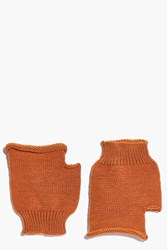 Boohoo Annabel Fingerless Soft Knit Mittens Rust