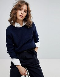 Selected Femme Oversized Ribbed Jumper Navy