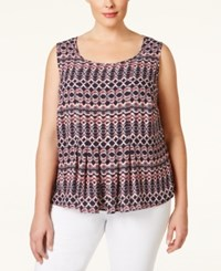 Nine West Plus Size Printed Pleated Shell Navy Multi