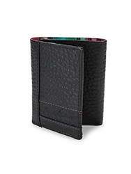 Robert Graham Wallace Embossed Leather Tri Fold Wallet Black