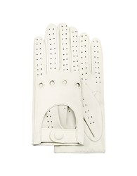 Forzieri Women's Perforated Italian Leather Driving Gloves Ivory