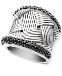Effy Collection Balissima By Effy Diamond Black Diamond Woven Band 1 1 4 Ct. T.W. In Sterling Silver