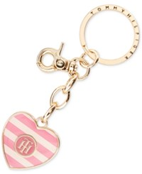 Tommy Hilfiger Heart Key Ring Fob Pink White