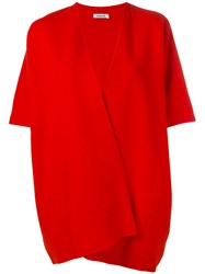P.A.R.O.S.H. Short Sleeve Oversized Coat Red