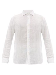 120 Lino Spread Collar Slubbed Linen Poplin Shirt White
