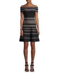 Herve Leger Off The Shoulder Wavy Jacquard Cocktail Dress Black Pattern