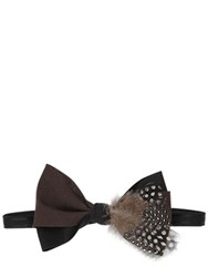 Mani Del Sud Plume Feather Embellished Bow Tie