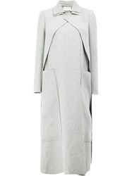 Maison Rabih Kayrouz Concealed Fastening Double Breasted Coat Grey