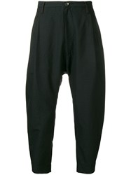 Ziggy Chen Cropped Tapered Trousers Black