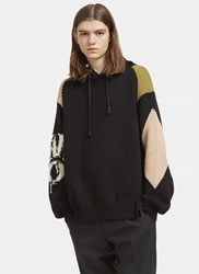 Stella Mccartney Contrast Frayed Patch Hooded Sweater Black
