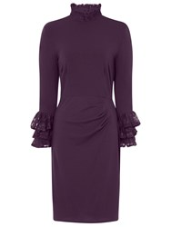 Hotsquash Clever Fabric Highneck Lace Detail Dress Damson