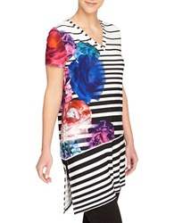 Catherine Malandrino Striped Graphic Floral Tunic Black White