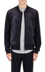 Vince. Men's Suede And Canvas Bomber Jacket Blue