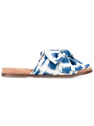 Sam Edelman Henna Sandals Women Silk Cork Cotton Rubber 10 Blue