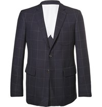 Wooster Lardini Blue Slim Fit Windowpane Checked Wool Blazer Navy