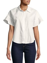 Design Lab Lord And Taylor Dolman Flutter Button Down Shirt White