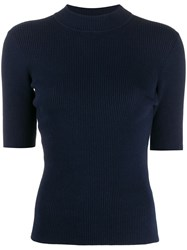 Ymc Short Sleeved Knitted Top Blue