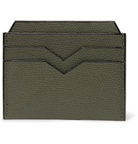 Valextra Pebble Grain Leather Cardholder Army Green