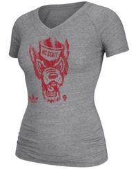 Adidas Women's Cap Sleeve North Carolina State Wolfpack V Neck T Shirt Gray
