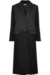 Temperley London Dragon Metallic Embroidered Satin Paneled Wool Coat Black