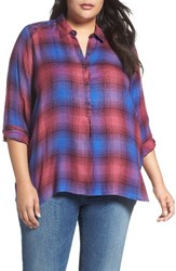 Lucky Brand Plus Size Women's Embroidered Plaid Shirt