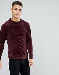 Only And Sons Velour Sweatshirt Fudge Red